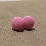 Pale pink m&m stud earrings