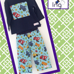 Size 1 long pants with matching appliqué Tee- construction, trucks, road, boys