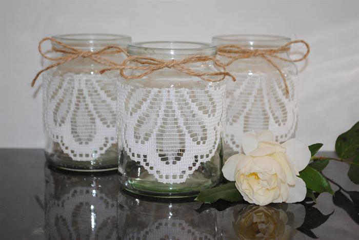 6 X Lace Jute Glass Jars Vases Vintage Rustic Chic Wedding Table