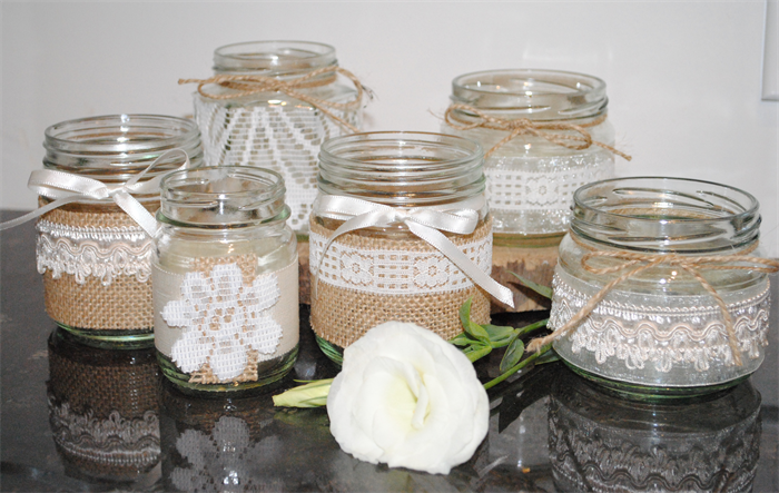 6 X Lace Hessian Burlap Wedding Glass Jars Vases Vintage Rustic