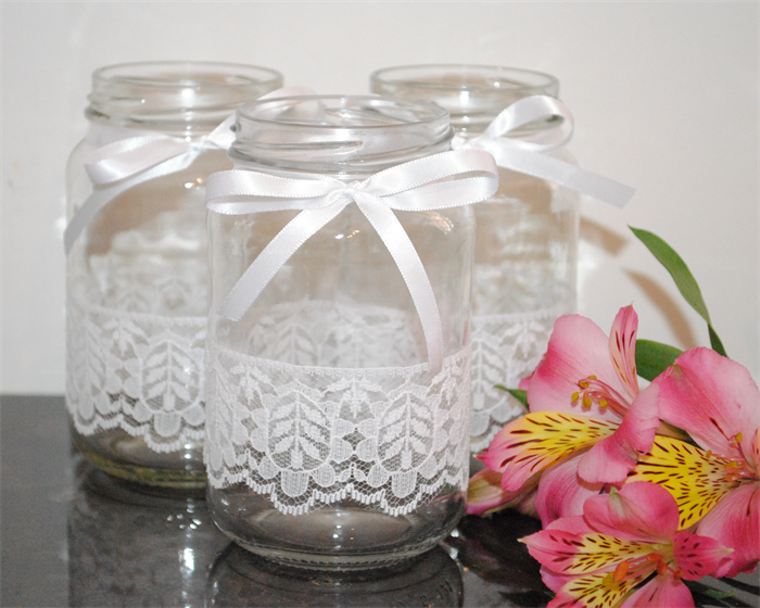 Decorating Jars With Lace Extraordinary 6 X Lace Ribbon Glass Jars Vases Vintage Rustic Chic Wedding Table 2018