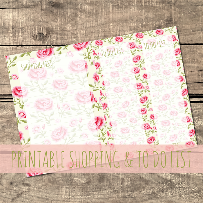 printable planner shopping list to do list vintage florals custom colour