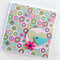 Hexagon geometric blank general card with bird heart flower pink aqua teal green