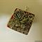 Pendant, square, red, hearts, padlock, key, neoprene cord