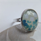 White Flower Vintage Glass Ring -Silver adjustable ring