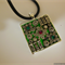 Pendant, square, crystals, silver plated, neoprene cord