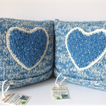 PAIR of Decorative Cushions | Teal | Love Heart | Girls Bedroom | Hand Knitted