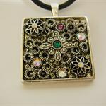 Pendant, square,           silver tone, circles, crystals, neoprene cord