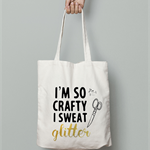 I am so crafty calico tote bag canvas market beach bag shopper  glitter