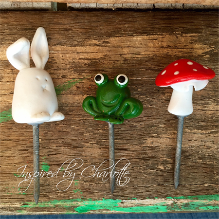 fairy garden miniature rabbit, toadstool and frog