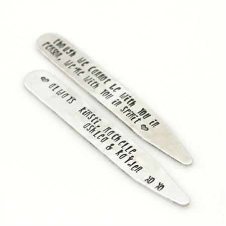 Handstamped Collar Stays - Personalised gift for Dad