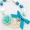 Vintage Inspired Statement Necklace in Aqua Blue