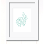shabby chic blue floral rabbit print 2 styles available