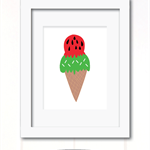 watermelon ice cream print