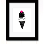 monochrome ice cream print