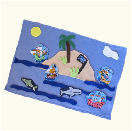 Pirate Island Felt Play Mat, Felt Board Travel Toy