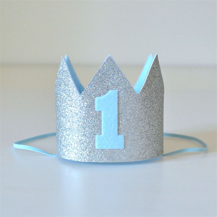 First Birthday Boy Boy Birthday Crown Boy Birthday: Baby Boy Silver Glitter & Blue Mini Crown