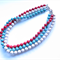 Paris Multi-strand red Cream and Blue Necklace
