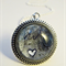 Mixed media art pendant in navy and grey hues with heart