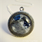 Mixed media art pendant in navy and grey hues with butterfly