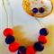 Cobalt blue and coral necklace and stud earring set.