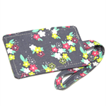 Flower Patch on Grey Fabric Luggage Tag Bag Tag