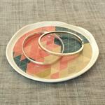 Jewellery / ring dish decoupaged with pink blue geometric pattern