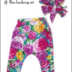 Floral harem pant & bow headwrap set nb-2yr