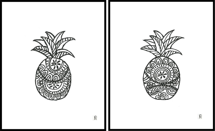 Black and white pineapple 1 a4 art print free shipping