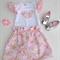 Sundae Dream High Waisted Skirt with matching ruffled sleeve love heart onesie