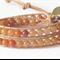 Natural Leather Aventurine Wrap Bracelet