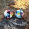 Triangle Geo Wood Stud - Turquoise/Pink/Navy
