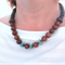 Jardin blue green glass and wooden statement necklace