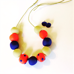 Cobalt blue, coral and butter necklace and stud earring set.