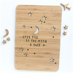 Moon and back card bamboo laser cut wood Love Anniversary Valentine Wife Husband