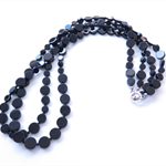 Black long gemstone polished onyx pair of necklaces