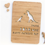 Father's Day bamboo card dinosaur ROARsome wood look Happy Fathers Day Dad
