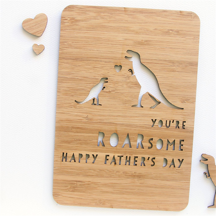 Father's Day card dino ROARsome laser cut bamboo wood ...