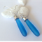 Sea Glass Teardrop Earrings Capri Blue sterling Silver Ear hooks