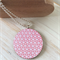 Wooden Papered Pendant Pink Pattern