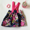 Navy Dream Floral Suspender skirt with bow