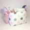 Large grey pink stars storage basket,fabric nappy caddy,nursery basket