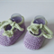 Hand Knit Baby, Wool,  Tie Mary-Jane Style Shoes, Lavender & Green