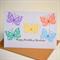 Birthday card personalise with name die cut butterflies pastels rainbow KIDS008