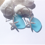Blue Sea Glass Sterling Silver Earrings with Starfish Charm