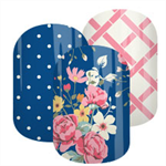 Cottage Blossom Navy Set Nail Wraps / Nail Decals / Nail Stickers