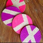 Set of 4 Neon Pink & Neon Violet Cork Coasters