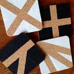 Set of 4 Black & White Cork Coasters