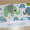 Welcome to the World - new baby card - elephants