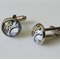 Cog Pattern Glass Cabochon Cufflinks